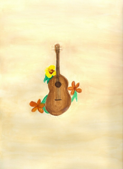 Ukulele and Hawaiian Flowers